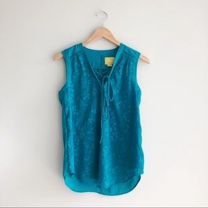 NWOT Anthro. Maeve   Teal Embroidered Tank